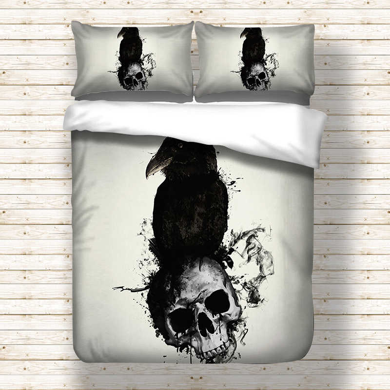 Crow Skull head bedding set Twin Full Queen King UK Double Duvet Cover Quilt Cover With Pillowcases bed linen set comfortable