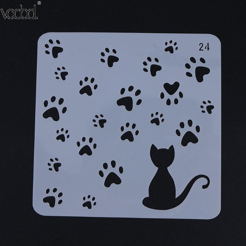 Cat With Footprint Template Layering Stencils For Wall Scrapbooking/photo Album Embossing DIY Paper Cards Crafts Decorative Hot