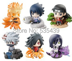 hot ! NEW 6PCS/set Q version 5cm naruto Uchiha Sasuke Uchiha Madara Orochimaru action figure toys Christmas toy 16cm 1 10 pvc japanese anime naruto action figure obito uchiha sasuke kakashi madara gaara orochimaru akatsuki nagato gs185