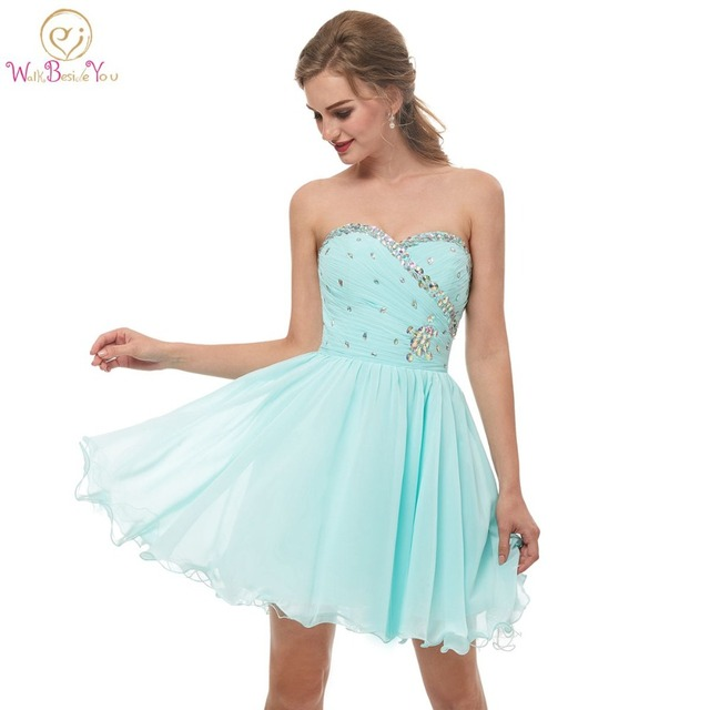 065f045133f04 Walk Beside You Mint Green Homecoming Dresses Strapless Sweetheart Crystal  Beaded Bodice Pleats Chiffon Short Graduation