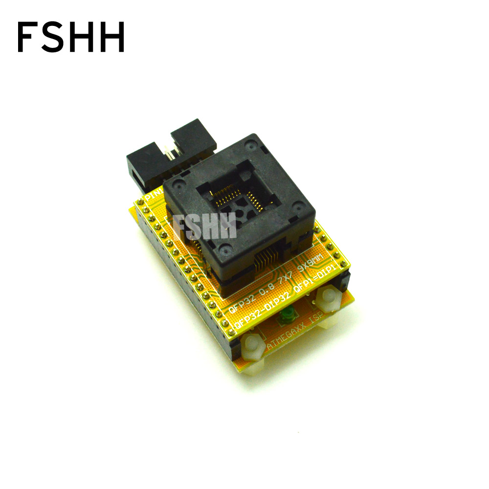 все цены на Open LQFP32 TQFP32 QFP32 test socket for AVR ISP test mega8 mega48 mega88 Programmer adapter Apply to CH2015 Programmer онлайн