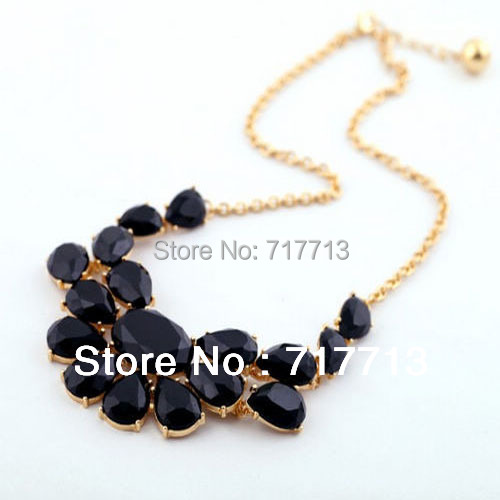 High Quality 2015 New Fashion Geometry Flower Shaped Resin Choker Necklaces for Women Ladies Gifts Jewelry Free Shipping Black