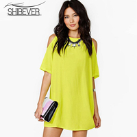 SHIBEVER Summer women casual chiffon solid party dress off the shoulder plus size dresses loose casual sexy dress 2017 LD195