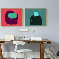 Frog And Bird Minimalist Simple Modern Abstract Painting Sofa Background Wall Nordic Living Room Study Bedroom