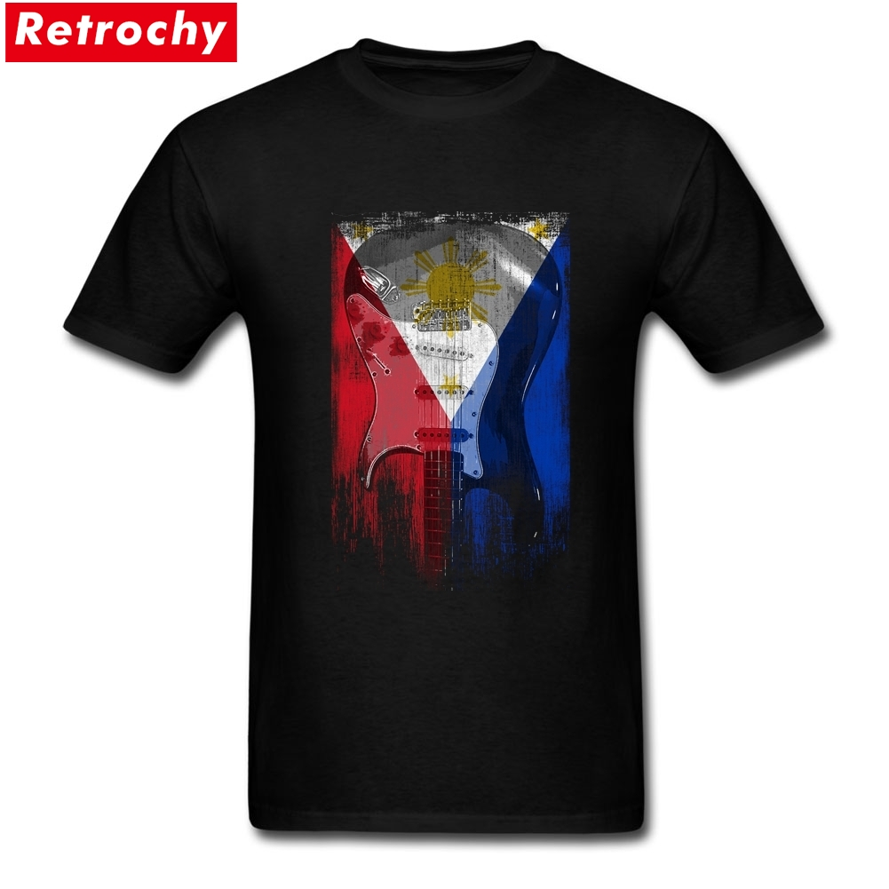 Custom Cotton Short Sleeve Distress Guitar flag Philippines T-shirts Creator Mans Plus Size Printed T Shirts Buy Online - intl