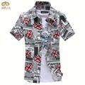 Imprimir tamanho grande chemise homme xxxl xxl 3 cor marca-clothing manga curta camisa dos homens 3 cores slim fit camisa masculina 2017 nova