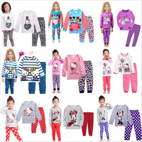 Baby Girls Sweet Pajama Sets Cute Minnie Mouse Causal Cotton Tops And Dot Prinitng Pants Kids
