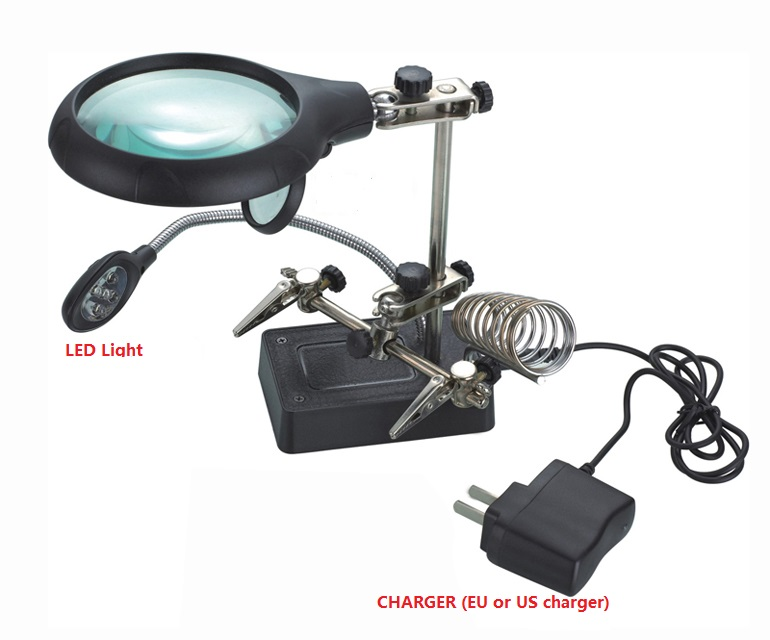 magnifying glass lampe loupe desktop Magnifier with led lupe vergrootglas tercera mano helping third hand soldering lentes lupa desktop magnifier lamp loupe with clamp 2 25x 5x illuminated magnifier metal hose third hand magnifying glass with led lights