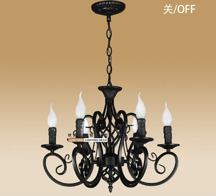 European Fashion Vintage Chandelier Ceiling lamp 6 Candle Lights Lighting  Iron Black/White Lampshade Fixtures E14 Chandeliers-in Chandeliers from  Lights ... - European Fashion Vintage Chandelier Ceiling Lamp 6 Candle Lights