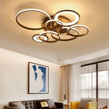 цена на NEO Gleam Circel Rings Coffee/White Modern led chandelier For Living Room Bedroom home RC+Dimmable Ceiling Chandelier Fixtures