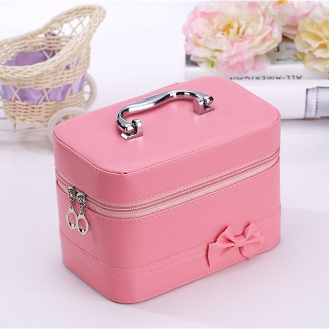 Ladies Makeup Bag Cosmetic Case Waterproof PU Bow Professional Makeup Bag Beauty Storage Travel Makeup Bag Designer