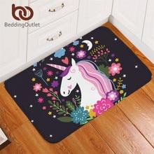BeddingOutlet unicornio entrada felpudo antideslizante alfombra Floral de impresión de dibujos animados para niños habitación piso Mat 50 cm 80×80 cm)