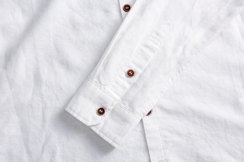 2017 Naturlig langærmet shirt mænd linned hvid stativ krave casual - Herretøj - Foto 5
