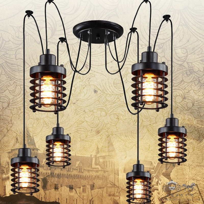Retro industry Vintage industrial wind new creative restaurant bar cage conspersa iron chandelier chandelier pulley ZX191 lo1025 vintage clothing store personalized art chandelier chandelier edison the heavenly maids scatter blossoms tiny cages