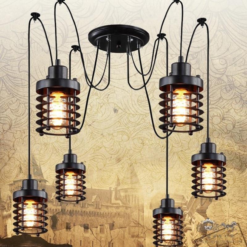 Retro industry Vintage industrial wind new creative restaurant bar cage conspersa iron chandelier chandelier pulley ZX191 lo1025