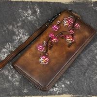 Vintage Wallet Women Purse Clutch Handy Bags Card Holder Plum flower Pattern Money Coin Pocket Genuine Leather Women Long Bag