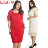 QMGOOD 10XL 9XL Big Size Ladies Dresses Half Sleeve Solid Lace Dress Plus Size 8XL 7XL