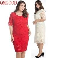 QMGOOD 10XL 9XL Big Size Ladies Dresses Half Sleeve Solid Lace Dress Plus Size 8XL 7XL