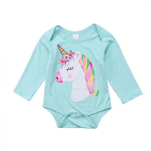 Adorable Newborn Baby Girl Boy Unicorn Long Sleeve Jumpsuit Outfits Bodysuit Clothes Size 0-18M