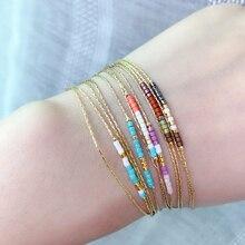 Gold Thin Double-layer Bracelets For Women Bijou MultiColor Beads Stone Miyuki Bracelet Adjustable Love Pulseara Jewelry Gift