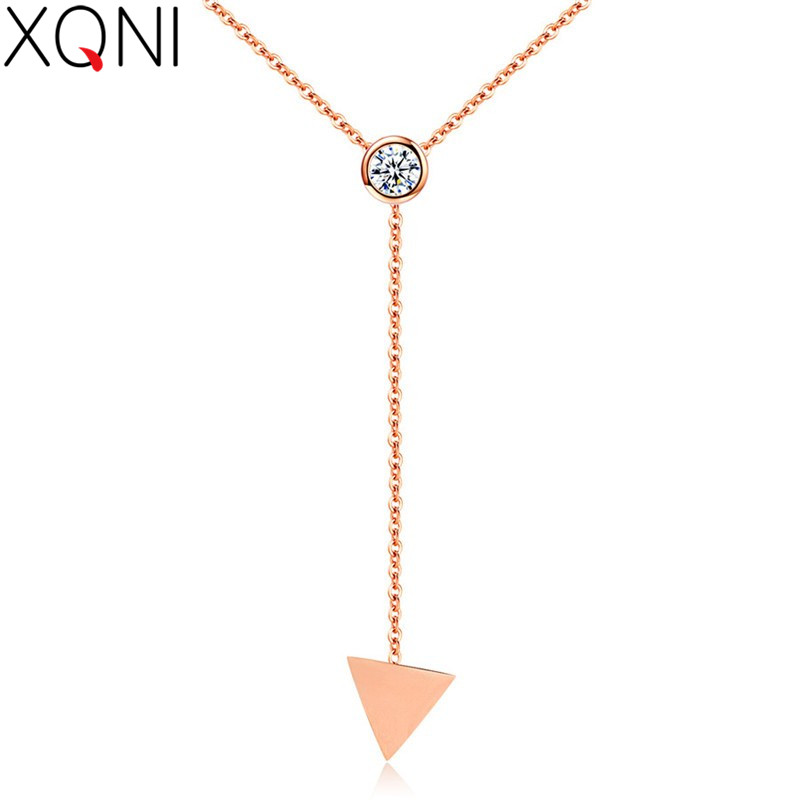 XQNI Simple Triangle Single Sweater Long Chain Necklace & Wild Individual Decorative Clothes Ethnic Pendant For Women