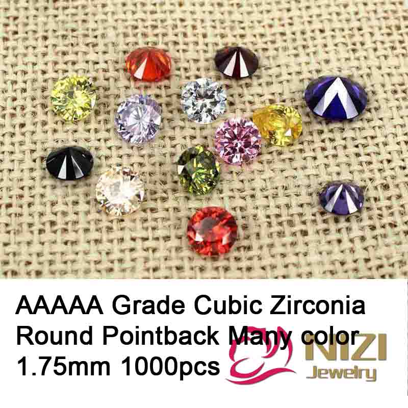1.75mm 1000pcs Cubic Zirconia Stones For Jewelry Accessories AAAAA Grade Round Shape Pointback Beads 3D Nail Art Decorations DIY 2016 new arrive cubic zirconia stones for 3d nails art decorations 1 4mm 1000pcs aaaaa grade pointback round design many colors