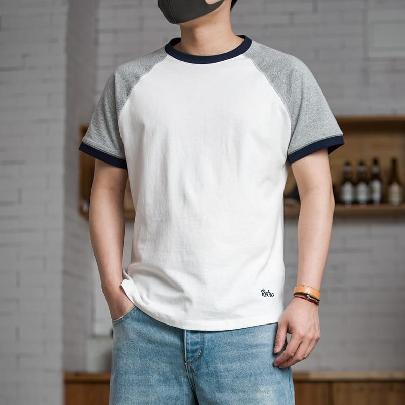 Men's Casual Short Sleeve Baseball   T     Shirt   Raglan Jersey Cotton Tee White Grey