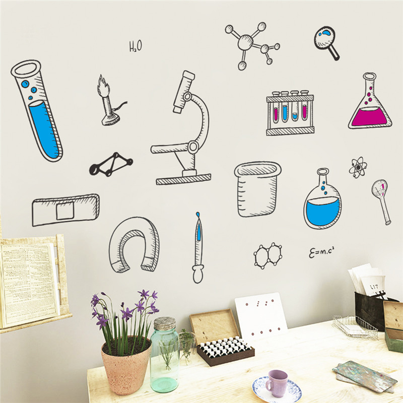 Study Room Decoration Diy: Cartoon Science Laboratory Wall Stickers For Classroom