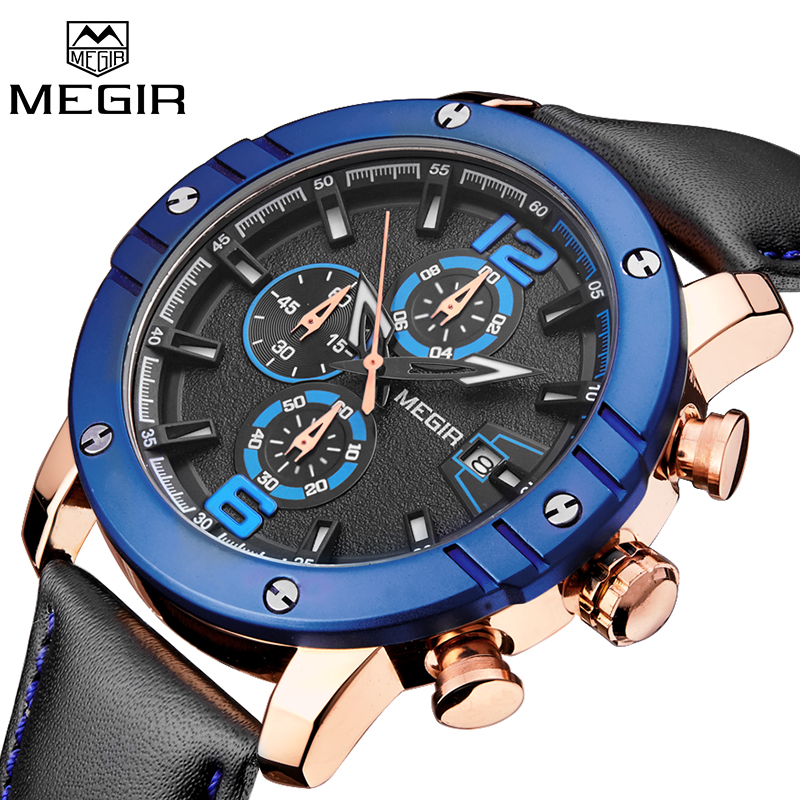 Relogio Masculino Mens Watches Top Brand Luxury MEGIR Clock Men Military Sport Wristwatch Chronograph Leather Quartz Watch 2017 reef tiger brand men s luxury swiss sport watches silicone quartz super grand chronograph super bright watch relogio masculino