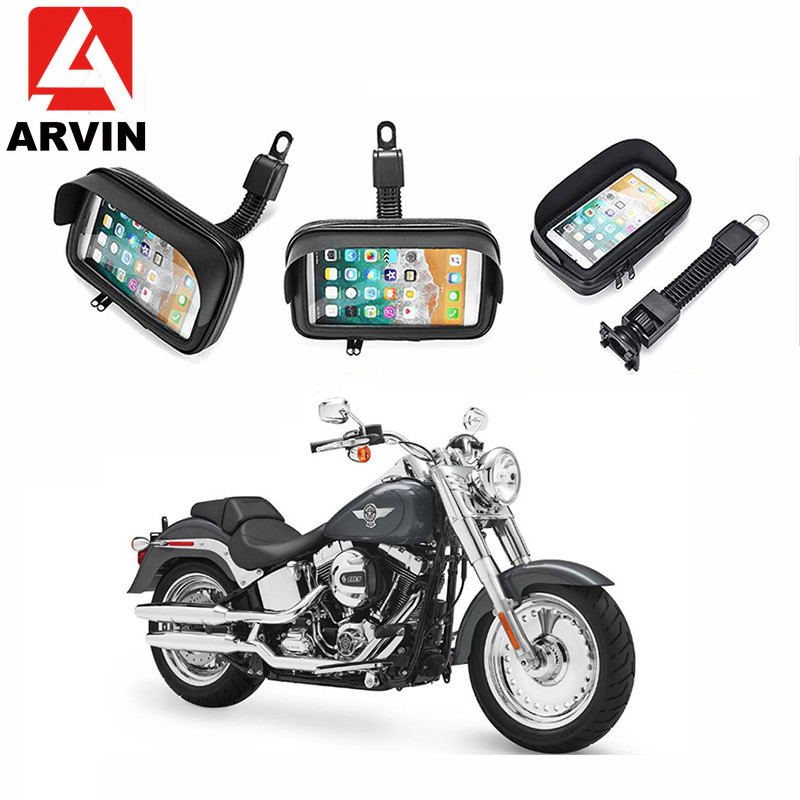 ARVIN Waterproof Motorcycle Holder Stand For IPhone XR 8P Samsung S8 S9 Moto Handlebar Phone Case Mount Bag For 4.7 5.5 6.3 Inch
