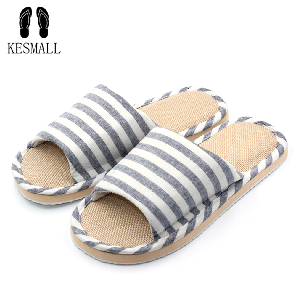 New Arrivals Summer Linen Men Slippers Brand Flat Non-Slip Stripe Hemp Basic Slides Home Sandals Man Charm Fashion Beach Shoes mashimaro new arrival men s linen slippers cotton fabric hemp slippers beach non slip indoor slippers men s fashion slippe