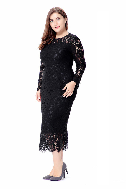Women's Plus Size Sweet Leah Lace Dress 6XL Big Size Clothing Women New 2017 Spring long Sleeve Elegant Ladies Dresses