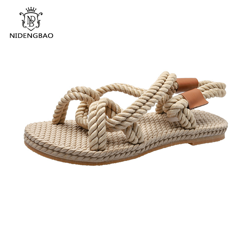 Rope Sandals Flat-Shoes Beach-Slippers Women Footwear Linen Woven Handmade Fashion Woman