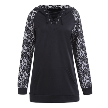 Punk Style Skull Print Long Lace Sleeve Criss Cross Hooded Pullover