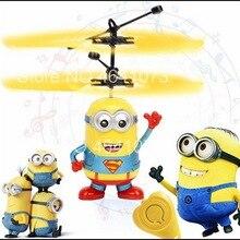 Миньон Дрон RC вертолет летательный аппарат мини-Дрон Летающий мигающий Вертолет ручное управление радиоуправляемые игрушки миньон Квадрокоптер Дрон светодиодный детские игрушки