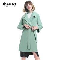 Cheerart 2017 Winter Coat Women Long Wool Coat With Belt Mint Green/Red/Pink/Khaki Overcoat Ladies Winter Coat Female