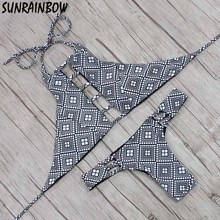 2017 Sexy High Neck Bikini Bandage Swimwear Reversible Cut Out Swimsuit Retro Halter Bikini Set Brazilian Printed Bathing Suits