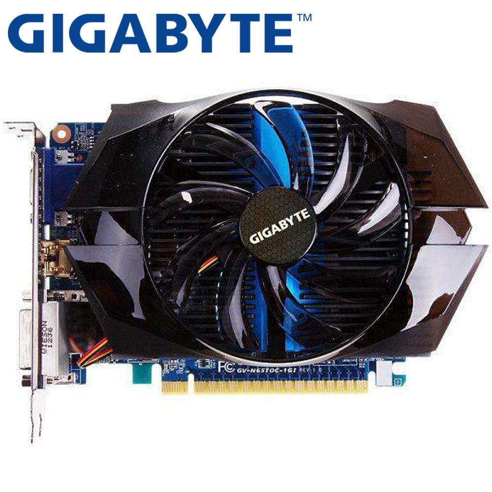 Carte graphique GIGABYTE d'occasion GTX 650 Ti 1 GB 128Bit GDDR5 cartes vidéo pour cartes nVIDIA Geforce GTX650 Ti VGA plus résistantes que les cartes GTX 750