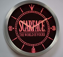 nc0153 Scarface The World is Yours Bar Beer Neon Sign LED Wall Clock