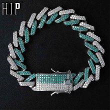 HIP HOP 14MM Iced Out Cubic AAA Zircon Mint Blue CZ Miami Cuban Chain Bracelet For Men Jewelry недорого