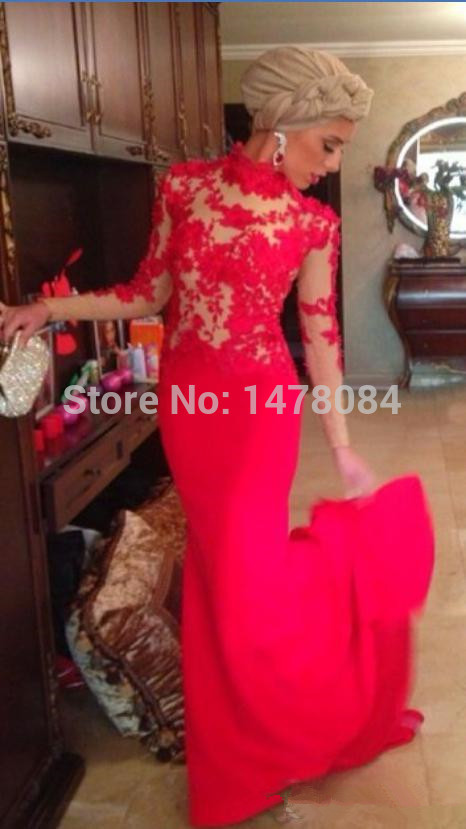 Exquisite Red Lace Evening Dresses High Collar Floor length Long Heart yue online dresses Evening gowns Beautiful dresses 2019 in Evening Dresses from Weddings Events