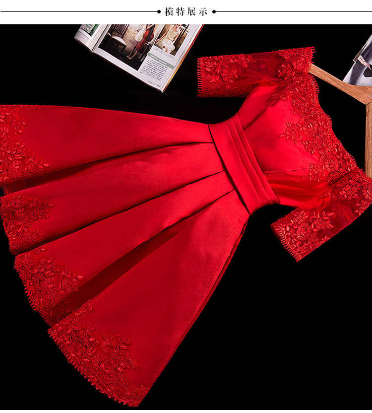 קצר חתונה שמלת סירת צוואר סאטן תחרה חצי שרוול שמלת כלה פשוטה זול Vestido דה Noiva בציר סקסי שמלת כלה שמלת כלה