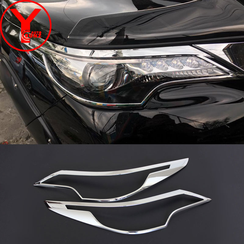 YCSUNZ chrome ABS head lamp headlight cover car parts auto accessories for toyota fortuner 2018 2016 2017 2018 2019