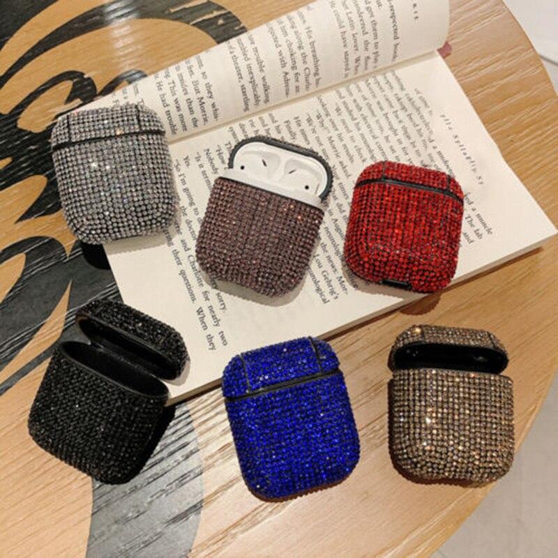 Luxury Diamond Decorative Case For Apple Airpods Earphone Bling Glitter Rhinestone Cover Skin