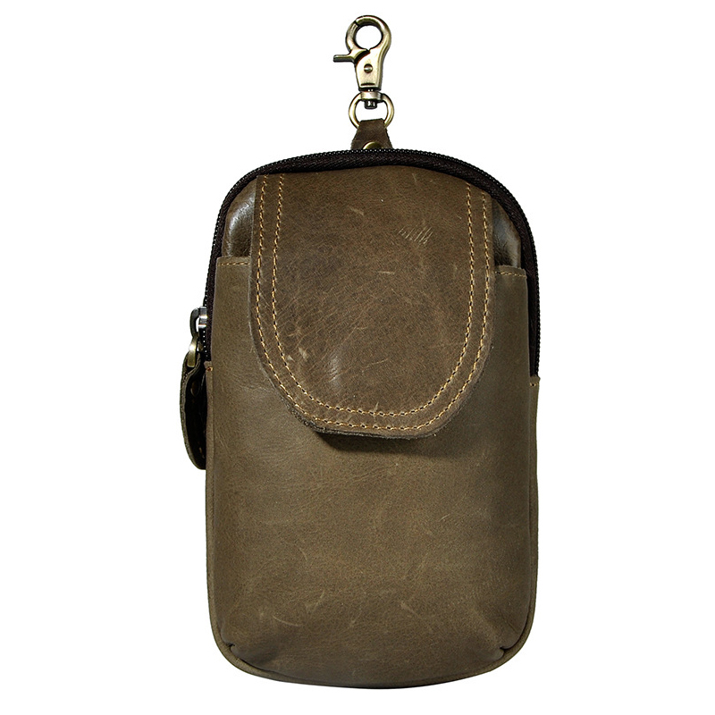Top Quality First Layer Oil Leather Wast Bag MenS Cool Cellphone Camera 7-Inches Small Pockets With Hook And Belt Ear