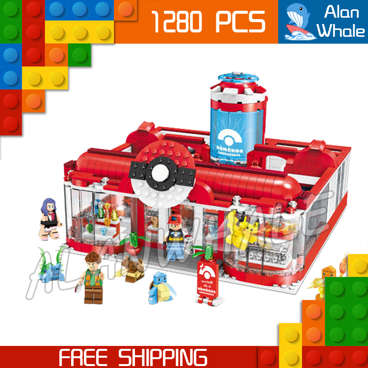 1280pcs New Pikachu Medical Center Model Building Blocks Go Generations Kits Japanese Anime Game Bricks Compatible With Lego 5 pcs lot cartoon anime wallet wholesale nintendo game pocket monster charizard pikachu wallet poke wallet pokemon go billetera