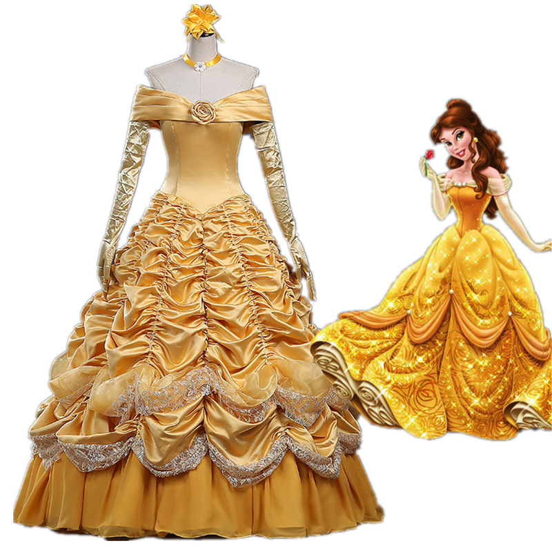 New Beauty and the Beast Cosplay Costume Princess Belle Dress Fancy Halloween Costumes for Women
