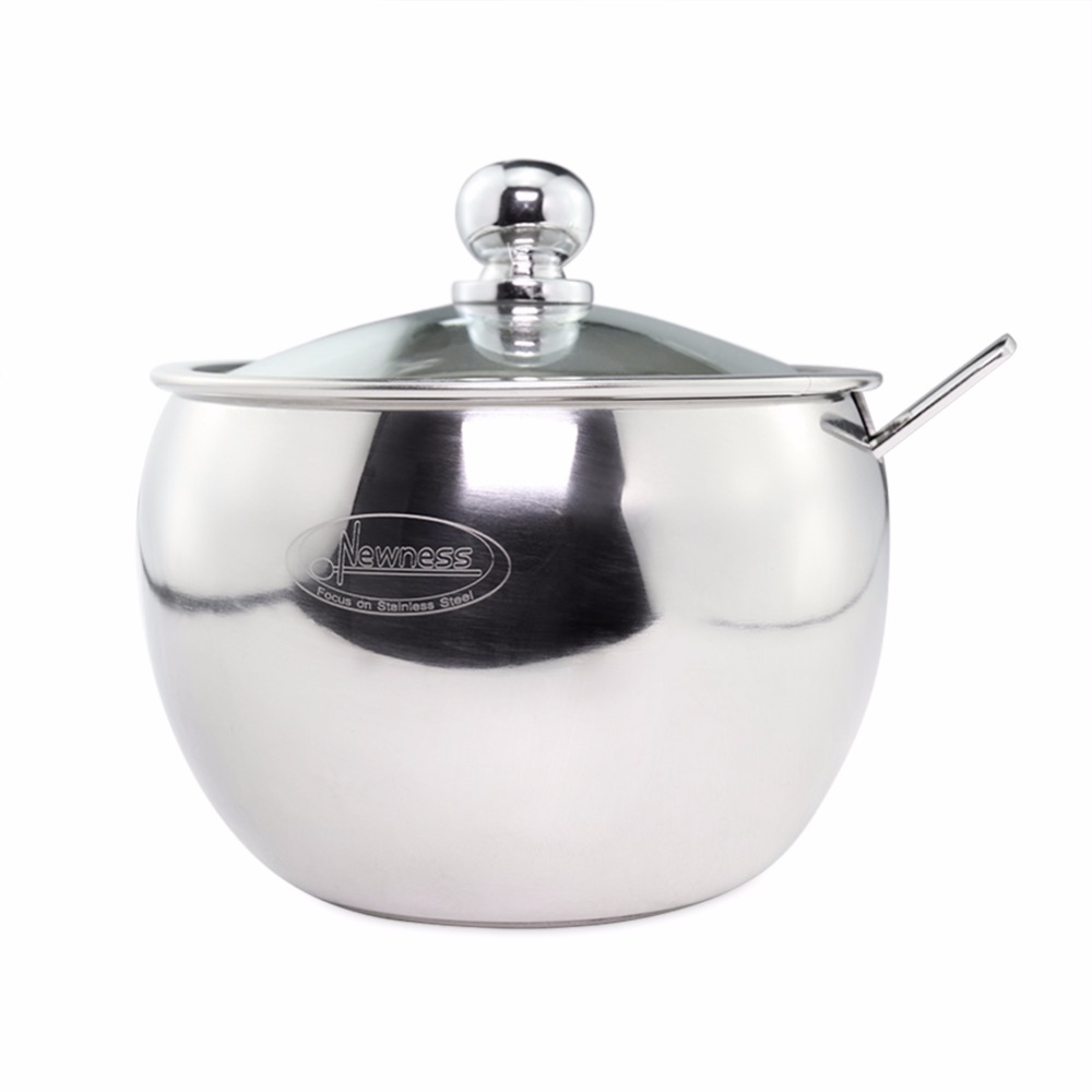 newness stainless steel sugar bowl with clear lid(for better  - aeproduct
