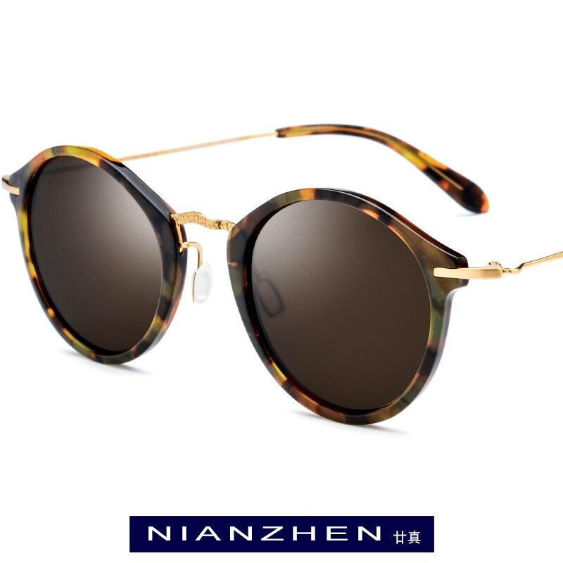 Titane acétate lunettes de soleil hommes 2019 mode lunettes de soleil polarisées marque Designer Vintage rond lunettes de soleil pour les femmes nuances T1852
