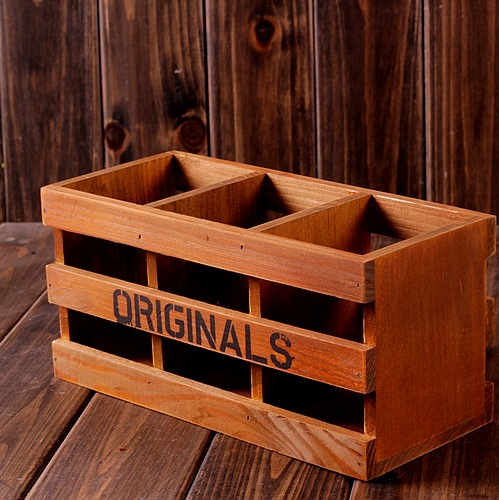 Zakka Wood Box Vintage Home Decor Tool Storage Pen Holder